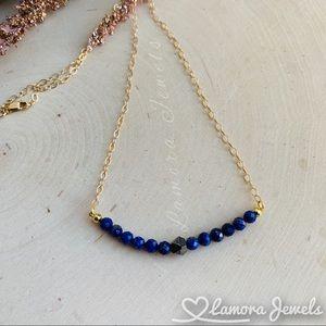 Lapis Lazuli & Pyrite Gemstone Gold Bar Necklace